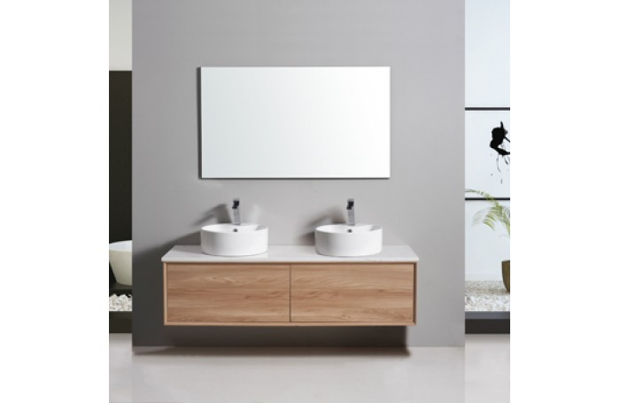 MIA Textured Wood Grain Vanity, Hidden Handle 1500mm