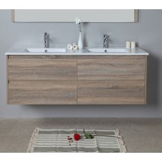 LEO Textured Rural Oak Wood Grain Vanity, Hidden Handle 1500mm