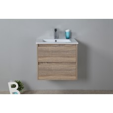 LEO Textured Rural Oak Wood Grain Vanity, Hidden Handle 600mm