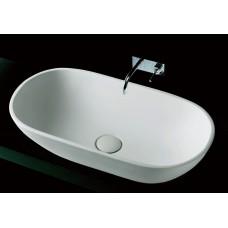 Aveo Matte White Bathroom Oval Lime Stone Vanity Basin