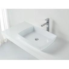Designer SORRENTO SlimLine White SOLID SURFACE STONE Vanity Sink Basin Bowl