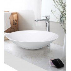 SUMMER SlimLine White Bathroom Round SOLID SURFACE STONE Vanity Sink Basin Bowl