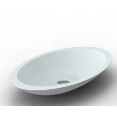PEACOCK White Bathroom Oval SOLID SURFACE STONE Vanity Sink Basin Bowl