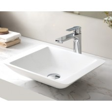 RIO White Bathroom Square SOLID SURFACE STONE Vanity Sink Basin Bowl
