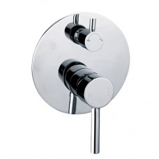 New Round Cylinder WELS Bathroom Shower Bath Wall Flick Mixer Tap With Diverter