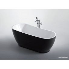 BLACK INGOT Thin Edge Bathroom Freestanding Acrylic Slim BathTub 1700MM