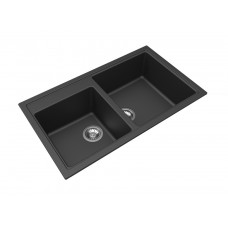 MODULO Granite Stone Black Kitchen Sink Radius Corner Double Bowl 860MM