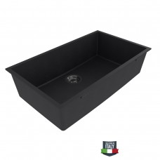 FLINDERS S760 Undermount Granite Stone Black Kitchen Sink Single Bowl