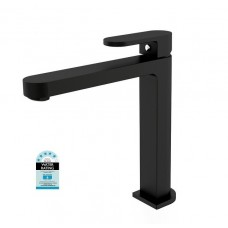 MATT BLACK ECCO Oval Bathroom WELS Tall High Basin Flick Mixer Tap