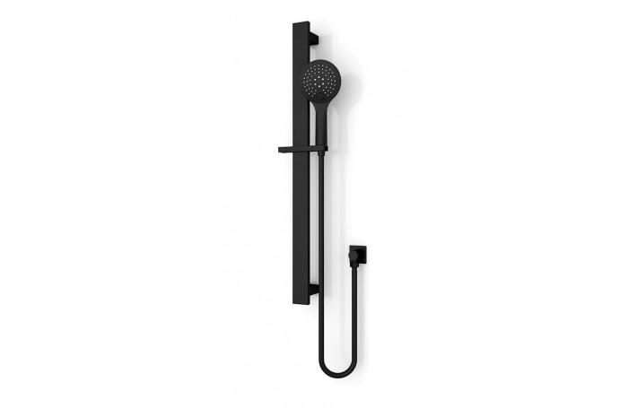 Designer Matt Black ECCO Round Hand Held Bathroom Shower Rail Set, 3 FUNCTIONS
