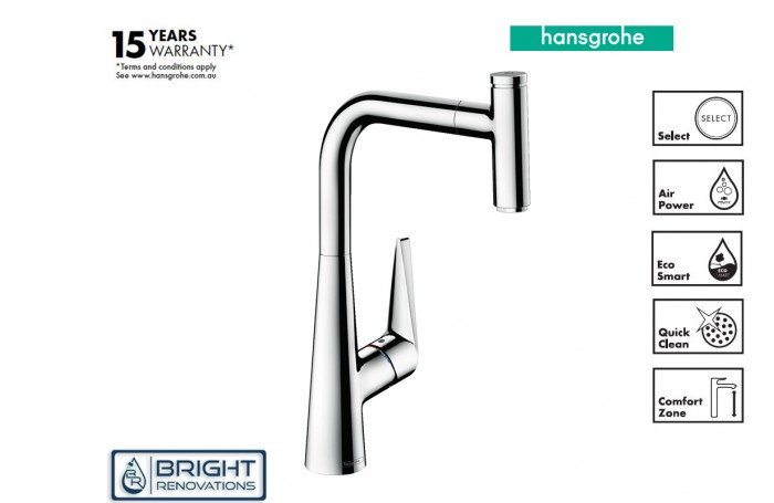Hansgrohe Talis Select M51 Single Lever Kitchen Mixer 300,  Pull-out Spout, 1jet