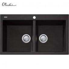 Oliveri Santorini Black Double Bowl Topmount Sink 860mm