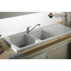 Turner Hastings Lusitano Inset Fine Fireclay Kitchen Sink - Double Bowl and Single Drainer