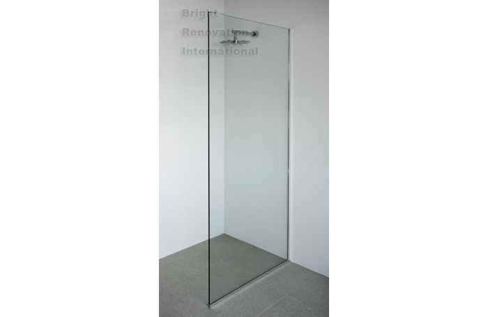 U CHANNEL Frameless Walk in Shower Fixed Panel 10mm Toughen Glass 865x2000