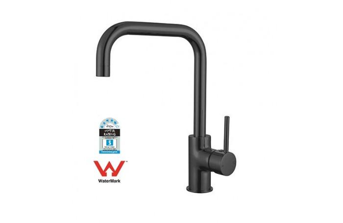 Designer Matte Black Round Cylinder Arch Sink Flick Mixer Tap