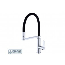 RIT Swivel Kitchen Laundry Basin Sink Mixer Tap Black Cilicone Hose