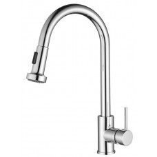 VENICE Round Pull Out Swivel Kitchen Laundry sink Flick Mixer Tap Brass Chrome