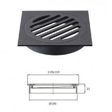 Matte Black Bathroom Square Shower Floor Waste Grate Drain,100mm Outlet