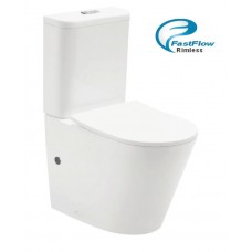 Flinders Rimless Short Project Ceramic Wall Faced Toilet, COMPACT 610mm Reach