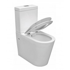 Elevated BONDI Rimless Ceramic Wall Faced Toilet Soft Close Seat & Power Flush