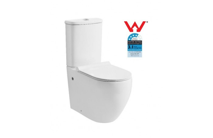 Donna Elevated Rimless Ceramic Wall Faced Toilet Soft Close Seat & Power Flush