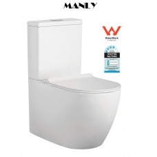 MANLY Ceramic Wall Faced Toilet, Thin Slim Soft Close Seat,Whirlpool Power Flush