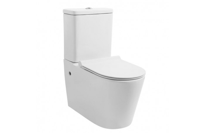 MEZIO Rimless Ceramic Wall Faced Toilet, Soft Close Seat & Power Flush