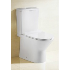 NIA COMPACT Bathroom Ceramic Wall Faced Toilet Suite Soft Close Seat, S/ P Trap