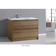 BETTA 1200 Textured Antique Oak WoodGrain Floor Vanity,Hidden Handle,Ceramic Top