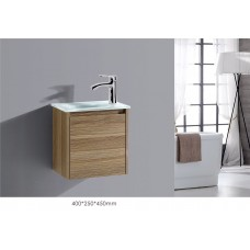 BETTA 400 Textured Antique Oak Wood Grain Wall Vanity, Hidden Handle, Glass Top