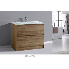 BETTA 900 Textured Antique Oak WoodGrain Floor Vanity,Hidden Handle,Ceramic Top