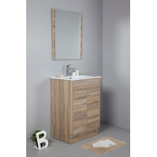 GRACE 600 Textured Rural Oak Wood Grain Vanity,Hidden Handle
