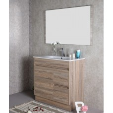 GRACE 900 Textured Rural Oak Wood Grain Vanity,Hidden Handle