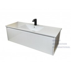 VITA Bathroom White Single Drawer Wall Hung Vanity Hidden Handle 1200X460X400