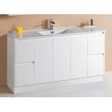 GLEN Bathroom White Finger Pull Hidden Handle Vanity 1500mm