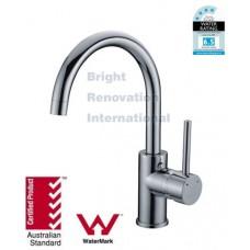 WELS Round Cylinder GooseNeck short Bathroom Basin Sink Flick Mixer Tap Faucet