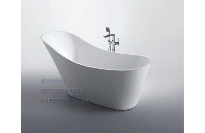 FLAMINGO Thin Edge Bathroom Freestanding Acrylic Slim Modern BathTub 1700MM