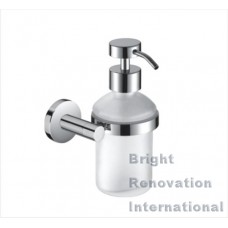 ROYAL Round Bathroom Accessory Solid Brass Chrome Glass Soap Dispenser