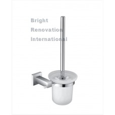STREAM Square Bathroom Accessory Brass Chrome Toilet Brush Holder
