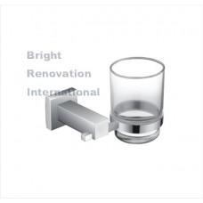 STREAM Bathroom Accessory Brass Chrome Glass Single Tumbler Toothbrush Holder