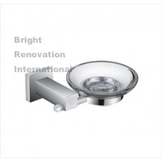 STREAM Square Bathroom Accessory Brass Chrome Glass Soap Dish Holder