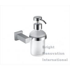 STREAM Square Bathroom Accessory Brass Chrome Glass Soap Dispenser