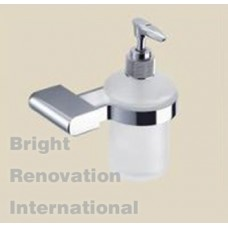 OBLATE Bathroom Accessory Solid Brass Chrome Glass Soap Dispenser
