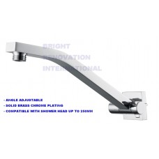 Bathroom SQUARE Shower Wall Arm Solid Brass Chrome, Angle Adjustable Elbow