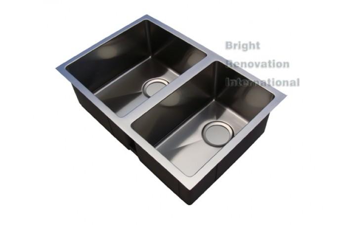 Cube Modern Square ROUND Corner Undermount/Drop In Kitchen Handmade Sink Double Bowl 680