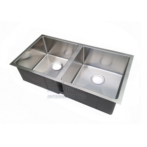 Undermount Corner Kitchen Sink : Square Cube Round Corner Undermount/Drop In Kitchen Sink Double Bowl ...