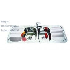 Drop In Double Bowl Kitchen Stainless Steel Sink with 2 Side Drainer 1380mm