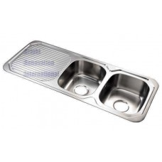 Drop In Double Bowl Stainless Steel Kitchen Sink with Drainer 1180mm