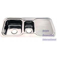 Drop In 1&1/4 Double Bowl Kitchen Stainless Steel Sink with Drainer 1000mm