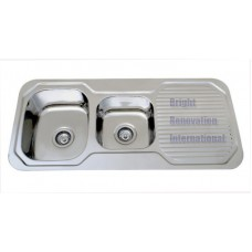 Drop In 1&3/4 Double Bowl Kitchen Stainless Steel Sink with Drainer 1080mm